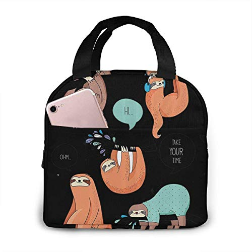 ZYWL ~ Cartoon Illustration Tribe of Sloths Smiles Stylish Lunch Bag for Women and Men Lunch Cooler Bag Reusable Lunch Bag Eco-Friendly Lunch Tote Insulated Lunch Bags