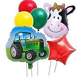 YSJJEFB Balloons 6 unids/Set Farm Theme Green Tractor Inflable Globos Feliz Cumpleaños Decoración de Fiesta Vaca Ballon Excavadora Bola de vehículo (Color : Set 2)