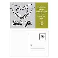 ブラックハート形の個人的なジェスチャー 詩のポストカードセットサンクスカード郵送側20個