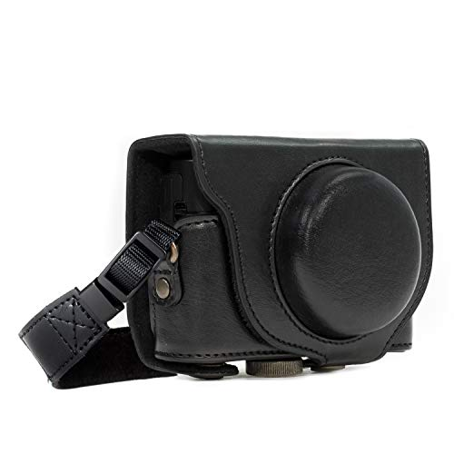 MegaGear MG596 Sony Cyber-shot DSC-HX99, DSC-HX95, DSC-HX90V, DSC-HX80 Ever Ready Leder Kameratasche mit Trageriemen - Schwarz
