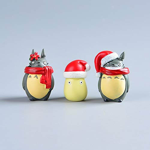 Haus Dekoration Japanische Anime temperamentvolle Kaonashi Kein Gesicht Mein Nachbar Totoro Harz Mini Weihnachtsfigur Studio Ghibli Hayao Miyazaki Spielzeug (Color : 3pcs)