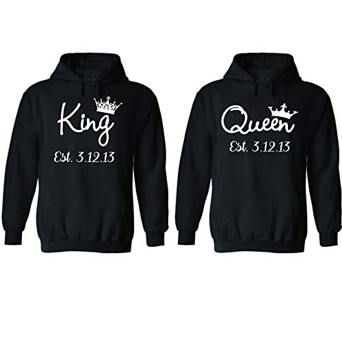 King & Queen Custom Couple Hoodie Customized Date for him and her Personalized Matching Couples