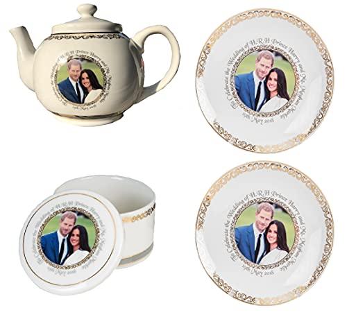 Royal Wedding Tetera con dos platos y caja de baratijas con el príncipe Harry y Meghan Markle