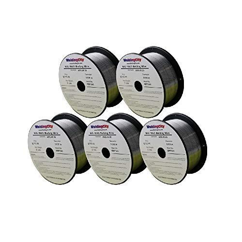 WeldingCity 5 Rolls E71T-11 Gasless Flux-Cored Mild Steel MIG Welding Wire 0.035