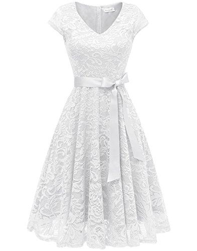 BeryLove Damen V-Ausschnitt Kurz Brautjungfer Kleid Cocktail Party Floral Kleid BLP7006White3XL