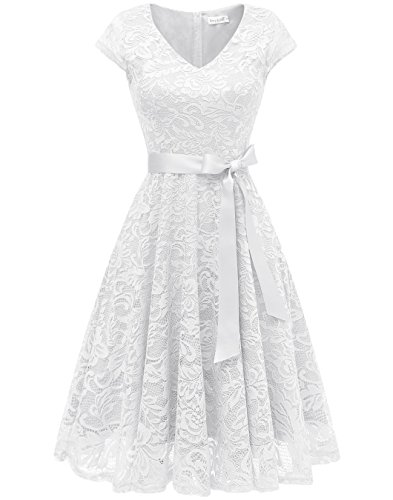 BeryLove Damen V-Ausschnitt Kurz Brautjungfer Kleid Cocktail Party Floral Kleid BLP7006WhiteS