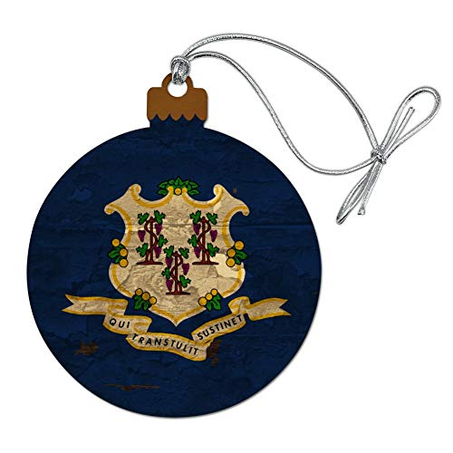 GRAPHICS & MORE Rustic Connecticut State Flag Distressed USA Wood Christmas Tree Holiday Ornament