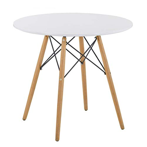 GOLDFAN Dining Table Modern Round Kitchen Table with Natural Beech Wood Legs and Matt Spray Paint, White, 80cm(Table Only)