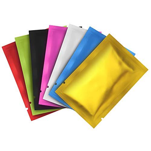 Belle Vous Bolsas Herméticas (Pack de 200) 9 x 6 cm Bolsas Aluminio Colores Variados Mylar - Bolsas con Cierre Sellable Planas a Prueba de Olores, Bolsas para Muestras Café, Te, Hojas, Nueces, Jabón