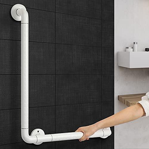 Synlyn Maniglia per vasca da bagno, in acciaio inox, per doccia, 60 x 40 cm, colore bianco, maniglia di sicurezza per anziani e bambini, montaggio a parete
