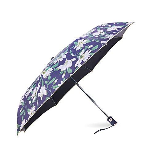 Rainbrace Ombrello da Pioggia e da Sole Pieghevole Compatto, Ombrello da Viaggio Automatico Antipioggia Antivento & Anti UV con Rivestimento Argentato (Nero)