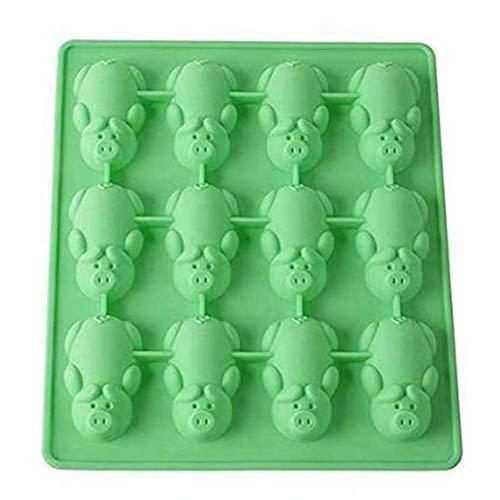 chengJellyLibrary Silikonform süße Schweinchen Form Schokolade Kuchen DIY handgefertigt Kekse Brot Formen grün