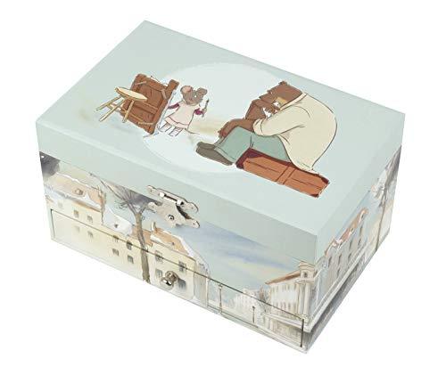 TrouSSELIER Ernest & Celestine - Caja para tesoros y joyas musicales, ideal como regalo para niños, música Feelings, color verde celadón