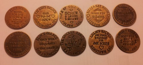 Set of 10 Reproduction Brothel Tokens #2 Brass Checks by cool stuff