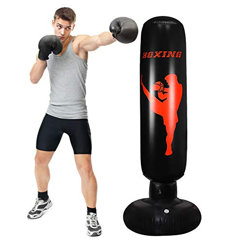 TUOWEI Punching Bag, Inflatable Punching Bag for Kids 63Inch Freestanding Punching Bag with Stand for Adults/Kids Standing Boxing Bag (Black)
