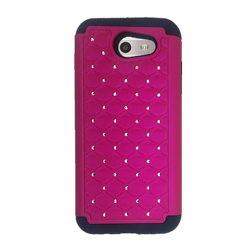 Phone Case for Straight Talk Samsung Galaxy J3 Luna Pro 4G LTE, Samsung Express Prime 2/ Galaxy J3 Emerge/Galaxy J3 Prime/Amp Prime 2/ J3 (2017) Case, Studded Diamond Bling Cover Case (Pink)