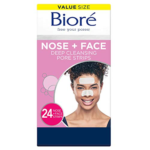 Bioré Nose+Face, Deep Cleansing Pore Strips, 12 Nose + 12 Face Strips for Chin or Forehead, with Instant Blackhead Removal and Pore Unclogging, 24 Count Value Size, Oil-free, Non-Comedogenic Use