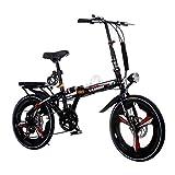 YANXIH 16'/20' Bicicleta De Ciudad Plegable Ligera Bicicleta A Prueba De Golpes, 6 Velocidades, Frenos De Doble Disco (Color : T1, Size : 20'')
