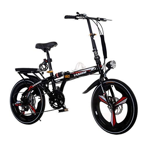 "YANXIH 16""/20"" Bicicleta De Ciudad Plegable Ligera Bicicleta A Prueba De Golpes, 6 Velocidades, Frenos De Doble Disco (Color : T1, Size : 20"