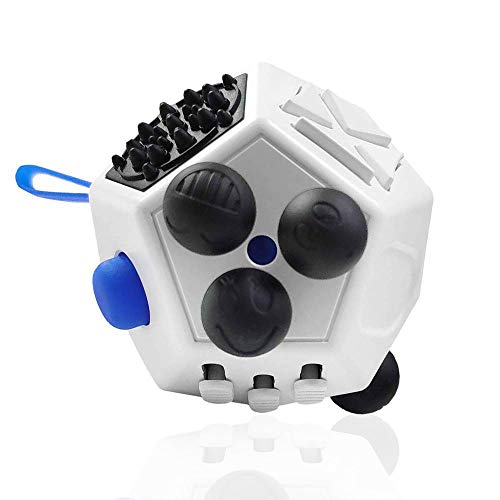 UOOE Fidget Cube Kids,12 Side Fidget Cube,Fidget Toy Cube,Relieves Stress and Anxiety,Relax for Children and Adults with ADHD ADD OCD Autism (White A2)