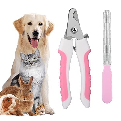 Fuyamp Profi Haustier Nagelknipser für Hunde und Katzen mit Schutzvorrichtung, Sicherheitsverschluss und Nagelfeile für Kleine und Mittlere Hunde und Katzen(Pink)
