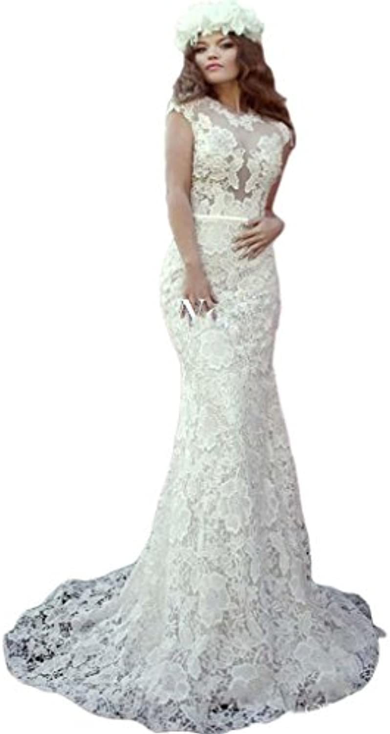 Beilite High Neck Pearl Lace Mermaid Wedding Dresses Sleeve