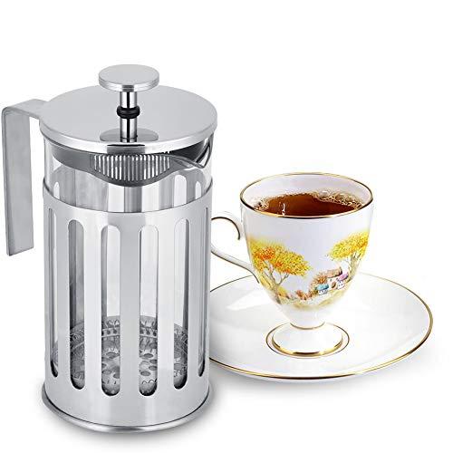 Cafetera con filtro de prensa francesa, cafetera de boca redonda de vidrio de acero inoxidable con calor para hacer té, café en casa en la oficina, etc. para el hogar(600ml)