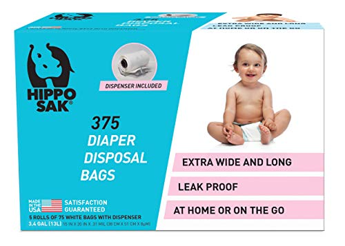 Hippo Sak Diaper Disposal Bags, 375 Count, White