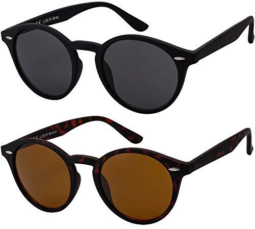 Originale La Optica UV400 Occhiali da Sole Unisex Specchiata Rotondi - Confezione Doppia Gommata Nero/Tortoise (Lenti: 1 x Grigio, 1 x Marrone)