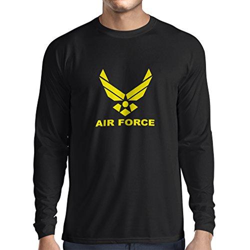 lepni.me Camiseta de Manga Larga para Hombre United States Air Force (USAF) - U. S. Army, USA Armed Forces (Large Negro Amarillo)