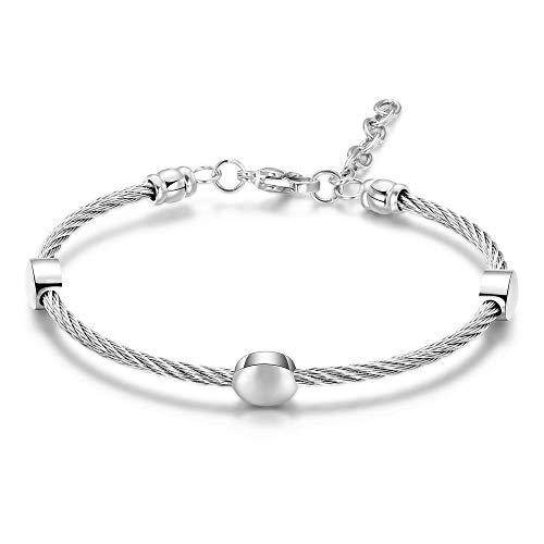 Bracelet Bracelet Et Bracelet De Chaîne De Câble-Fil 4 Couleurs avec Bracelet en Acier Inoxydable Plaqué Or Rose/Or/Noir/Argent pour Femme Argent