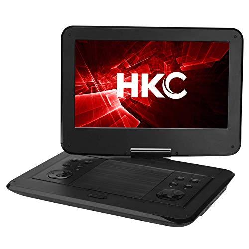 HKC Reproductor de DVD portátil D13HM01 de 13.3 Pulgadas (33,8 cm), Pantalla giratoria, Tarjeta SD, Puerto USB con batería, Control Remoto y Cargador para automóvil, Negro