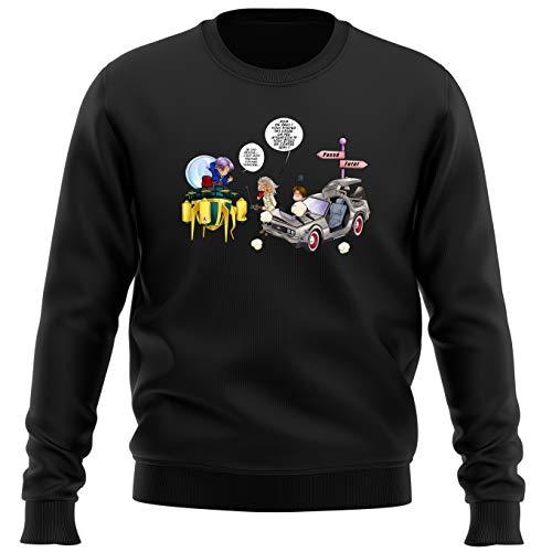 Okiwoki Pull Noir Parodie Dragon Ball Z - Retour vers Le Futur - Trunks Vs Doc et Marty Macfly - Collision dans Les Couloirs du Temps ! (Sweatshirt de qualité Premium de Taille S - imprimé en France)