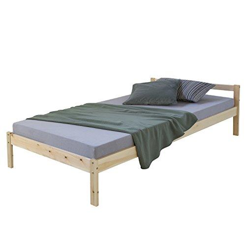 Homestyle4u 888, Holzbett 90x200 cm Natur, Bett mit Lattenrost, Kiefer Massivholz