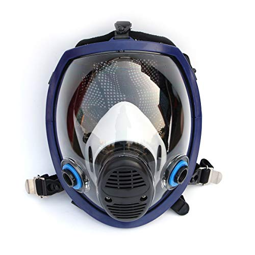 Funnyrunstore Mascarilla química Ligera Completa Máscara Anti-Gas Ácido para Polvo Respirador Pintura Pesticida Spray Silicona Filtro Mascarilla Facial (Negro)