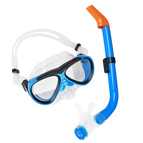 Tbrov Taucherbrille Kinder, Tauchermaske Kinder, Tauchset für Kinder, Jugendliche Schnorchelset mit Dry Schnorchel Tauchmaske und Anti-Fog Anti-Leck Schnorchelmaske für Schnorcheln Tauchmaske
