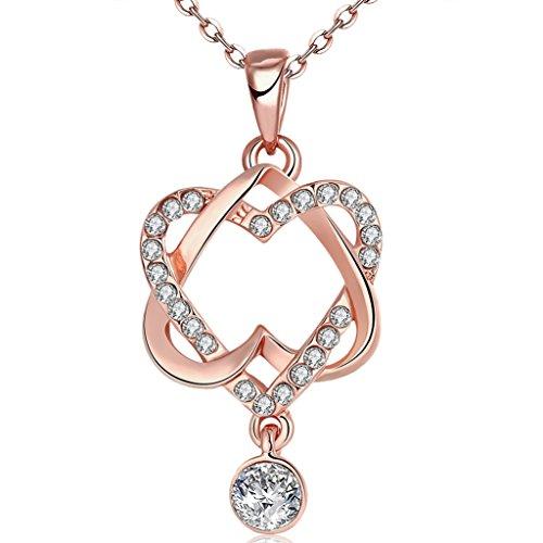 FENDINA Women's Vintage 18K Gold Plated Double Love Hearts Pendant Necklace Best Friendship Sister Mom Love Zircon Chains Necklaces