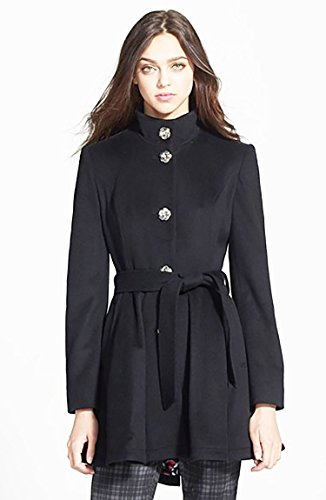Betsey Johnson Belted Skirted Wool Blend Single-Breasted Peacoat, Large Black