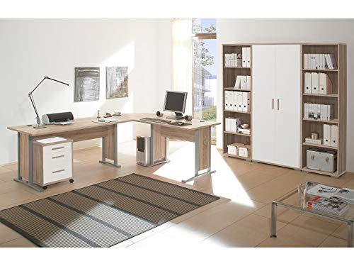 möbelando Büro-Set Büroprogramm Bürokombination Büroeinrichtung Komplettset Clermont I Sonoma-Eiche/Weiß