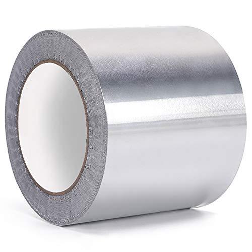 Keleily Nastro Alluminio Alte Temperature Nastro di Alluminio Adesivo per Condotti, Riparazione HVAC, Riparazione dei Metalli, Creazione di Gioielli, Argento, 10 mm x 20 m