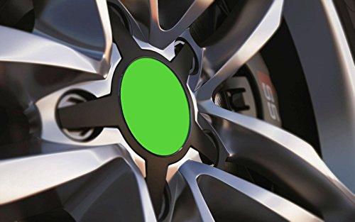 Standard ajustement universel 80 mm Centre de roue en alliage Cap badges, Vert vif
