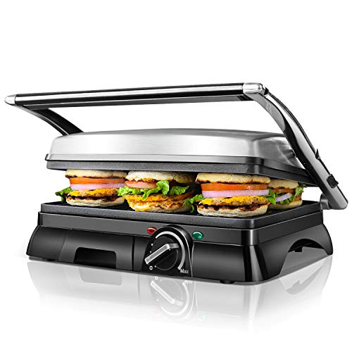 Aigostar 2000W Multifunctional Panini Press Grill, Sandwich Maker, 2 Large Non-Stick Plates for Family, Stainless Steel, 180° Flat Open, Temperature Controller, Removable Drip Tray - Samson 30MAZ.