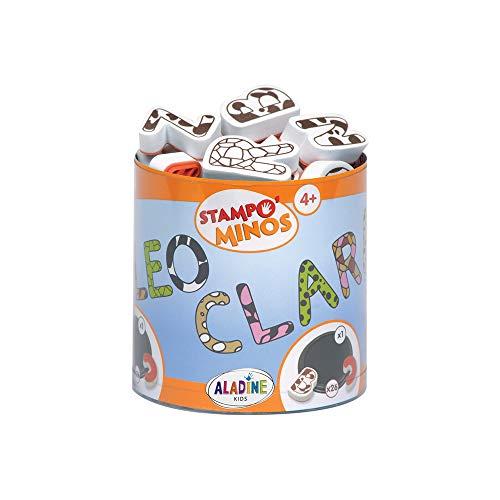 Aladine 85111 Stampominos Alphabets - Lote de Sellos de Madera y tampón para Decorar, diseño de Letras