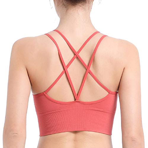 Tuopuda Sujetador Deportivo para Mujer,Bra Deporte sin Costuras Push Up para Mujer Sujetador Invisible Slim Fit con Almohadillas para Yoga/Fitness/Run/Ejercicio(Rojo- 1 Pack,S)