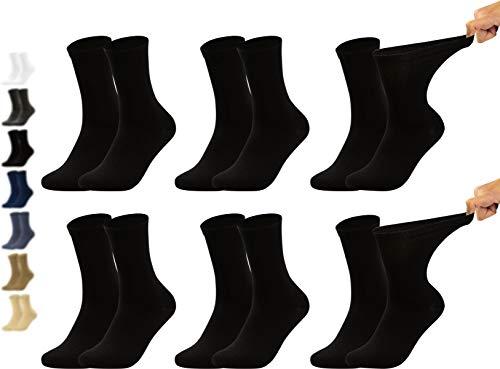 Vitasox 11124 Damen Gesundheitssocken extra weiter Bund ohne Gummi, Venenfreundliche Socken mit breitem Schaft verhindern Einschneiden & Drücken, 6 Paar Schwarz 39/42