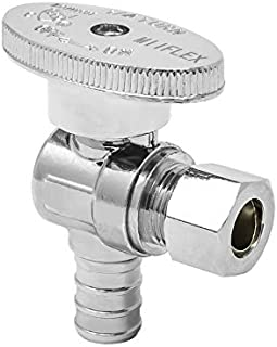 MIIFLEX 1/2 inch PEX(Inlet) x 3/8 inch OD(Outlet) Lead Free 1/4 Turn PEX B Angle Stop Valve for Water Shut Off, Crimp F1807 x Compression, (Click in for more size options), 1/2'' PEX x 3/8'' OD