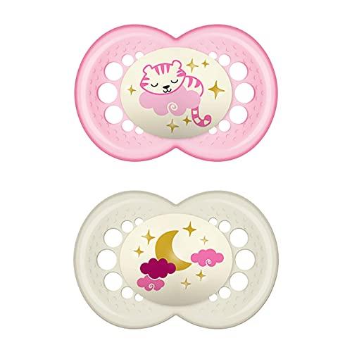 Istruzioni in lingua straniera - MAM Night, set di 2 ciucci luminosi per bambini, per accettazione rapida con scatola di trasporto sterilizzata, a partire da 16 mesi, tigre e luna
