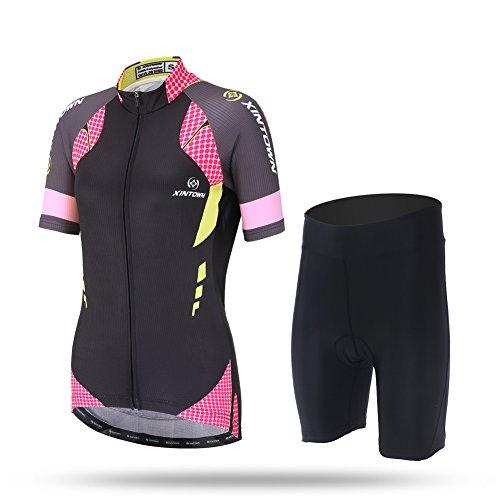 LSHEL - Conjunto de Maillot de Ciclismo para Mujer, Camiseta de Manga...