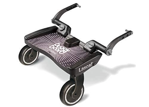 Lascal BuggyBoard Maxi, Planche BuggyBoard avec grande plateforme, Accessoire poussette pour enfants de 2 à 6 ans (22 kg), Compatible avec toutes les poussettes, noir
