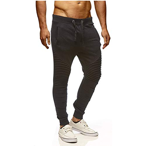 Capabes Pantalones de chándal para Correr para Hombres, Pantalones de Tubo Informales Plisados, Pantalones de chándal Ligeros Informales, para Correr, Entrenamiento, Gimnasio XL